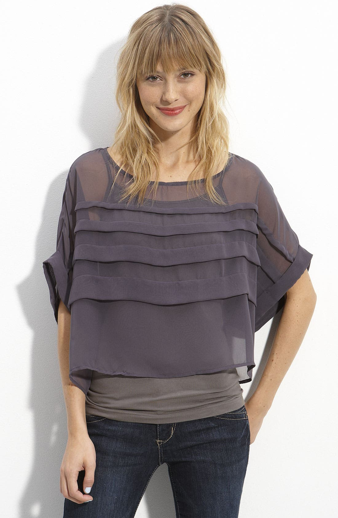 Alternate Image 1 Selected - Lush Tiered Sheer Chiffon Cropped Top (Juniors)