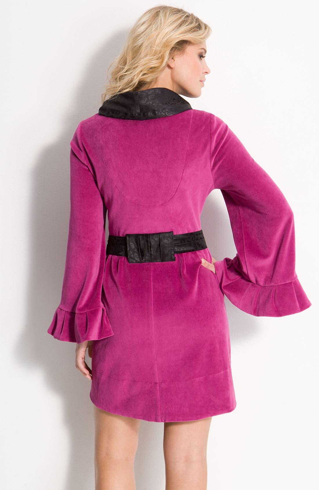 Alternate Image 2  - Betsey Johnson Velour & Satin Robe