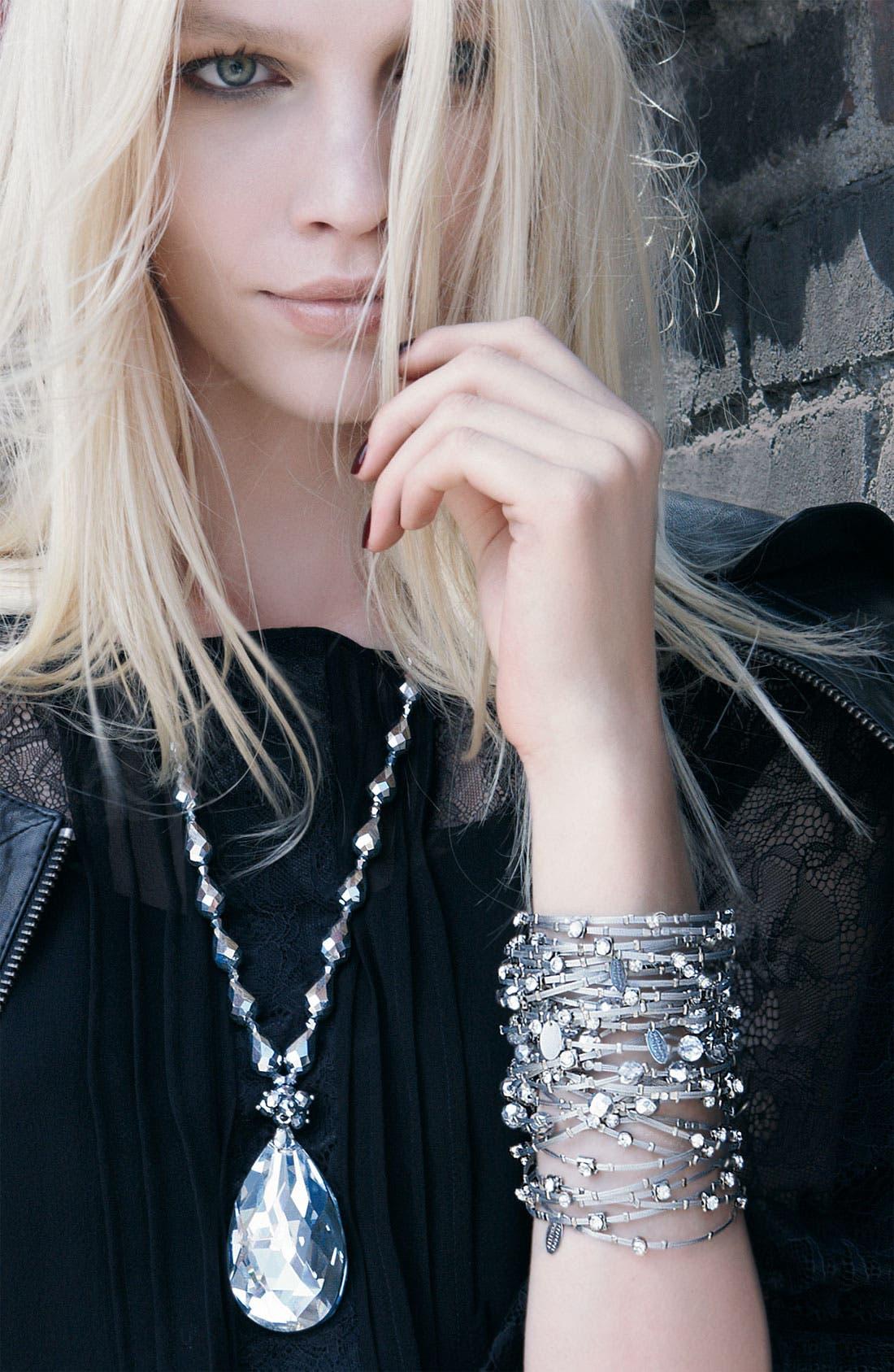 Alternate Image 2  - Cara Accessories Faceted Crystal Teardrop Pendant Necklace