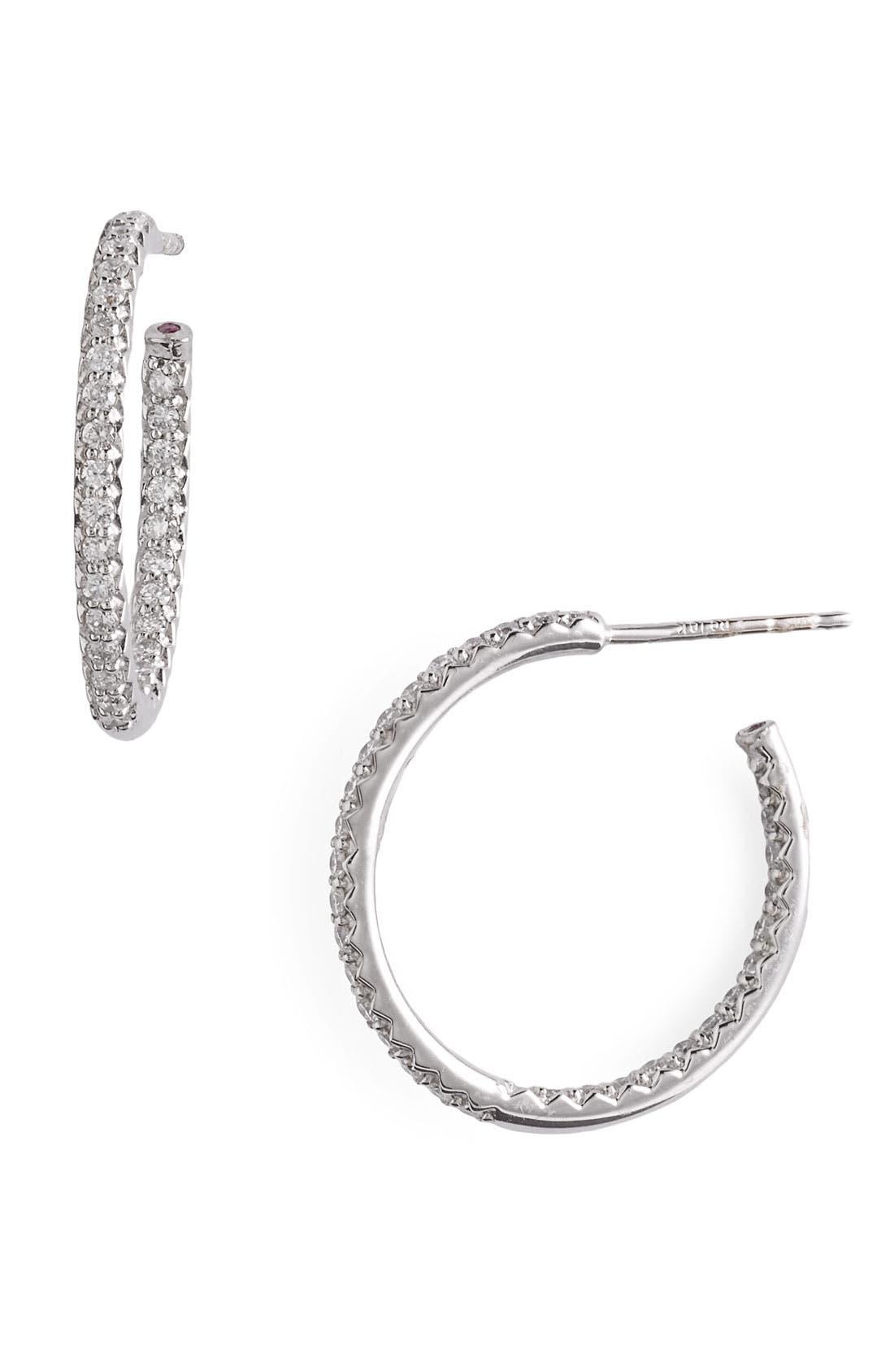 Main Image - Roberto Coin Micropavé Diamond Hoop Earrings