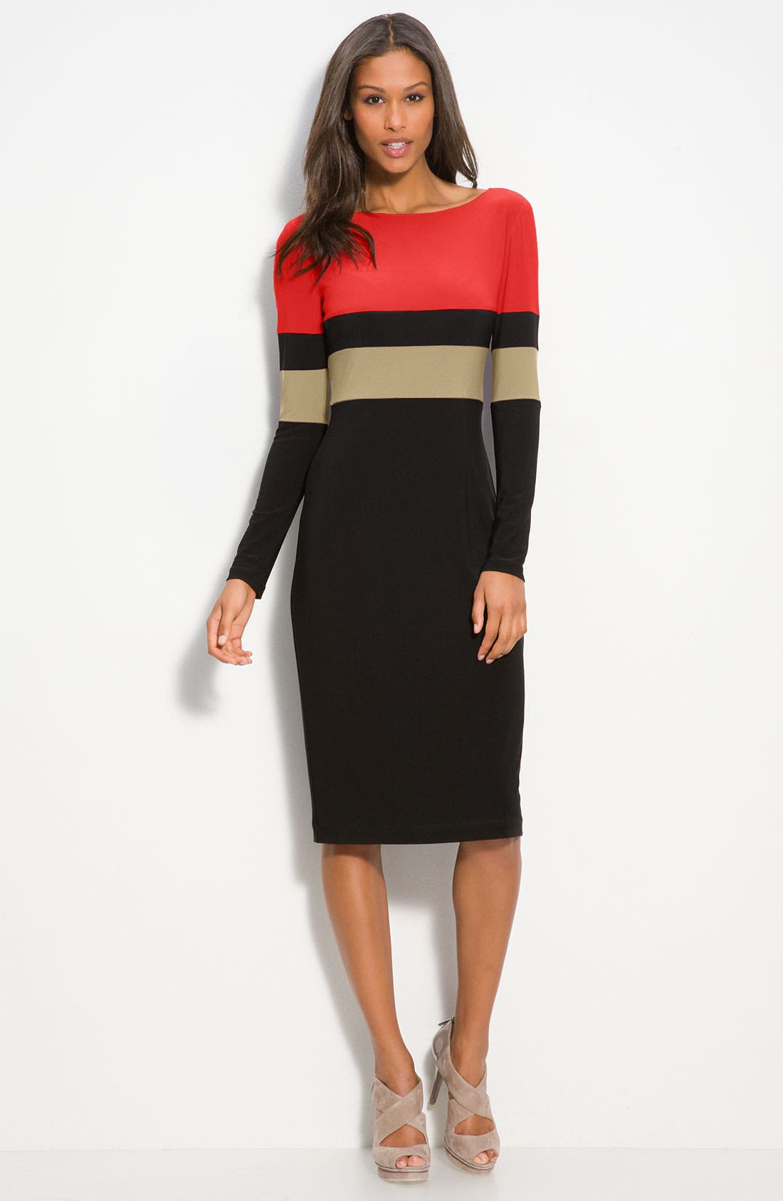 Main Image - Donna Morgan Colorblock Midi Dress
