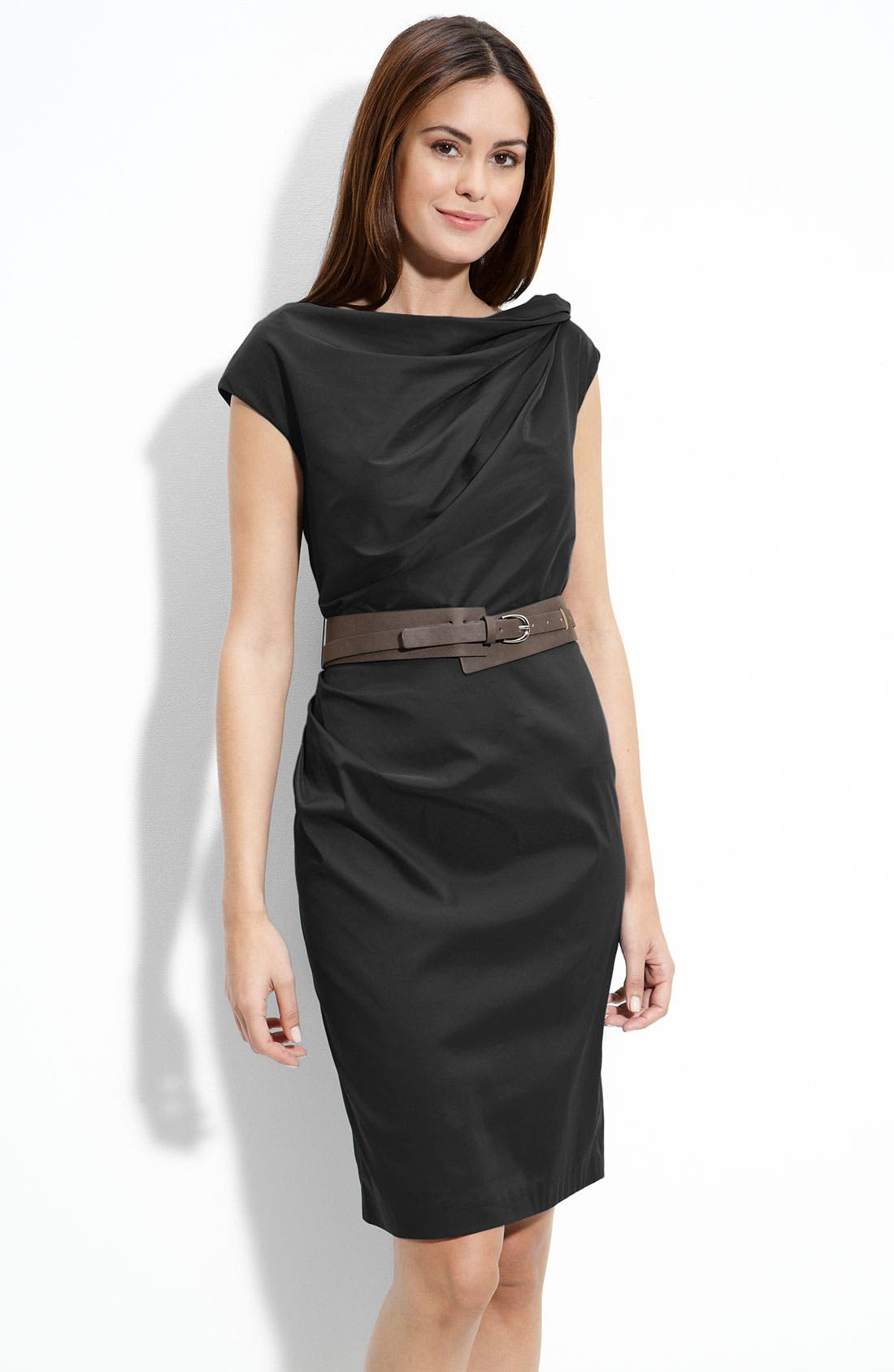 Main Image - Suzi Chin for Maggy Boutique Twist Neck Belted Sheath Dress (Petite)