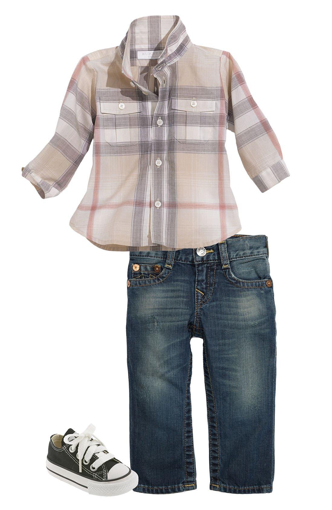 Main Image - Burberry Shirt & True Religion Brand Jeans Straight Leg Jeans (Infant)