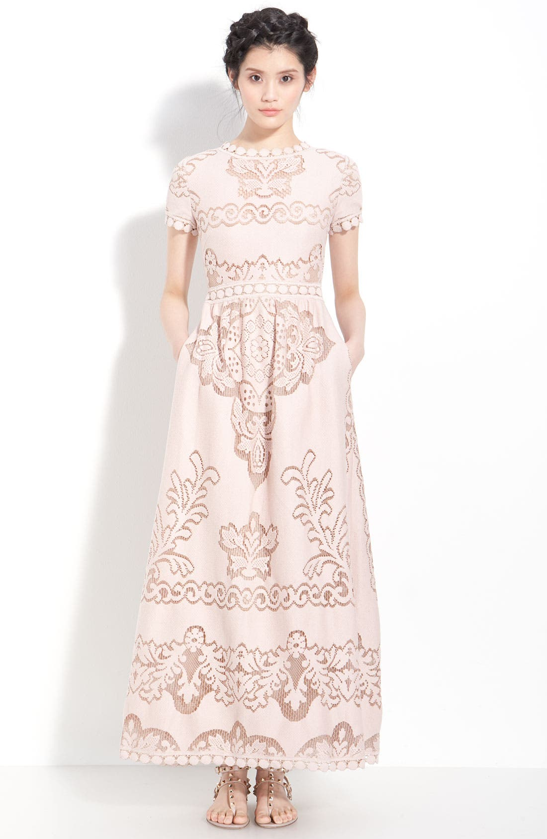 Main Image - Valentino Point de Flandres Lace Gown
