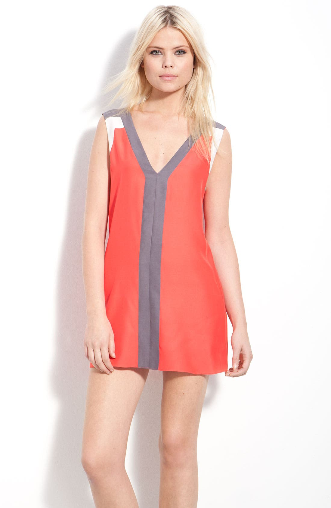 Main Image - Parker Colorblock Sleeveless Silk Minidress