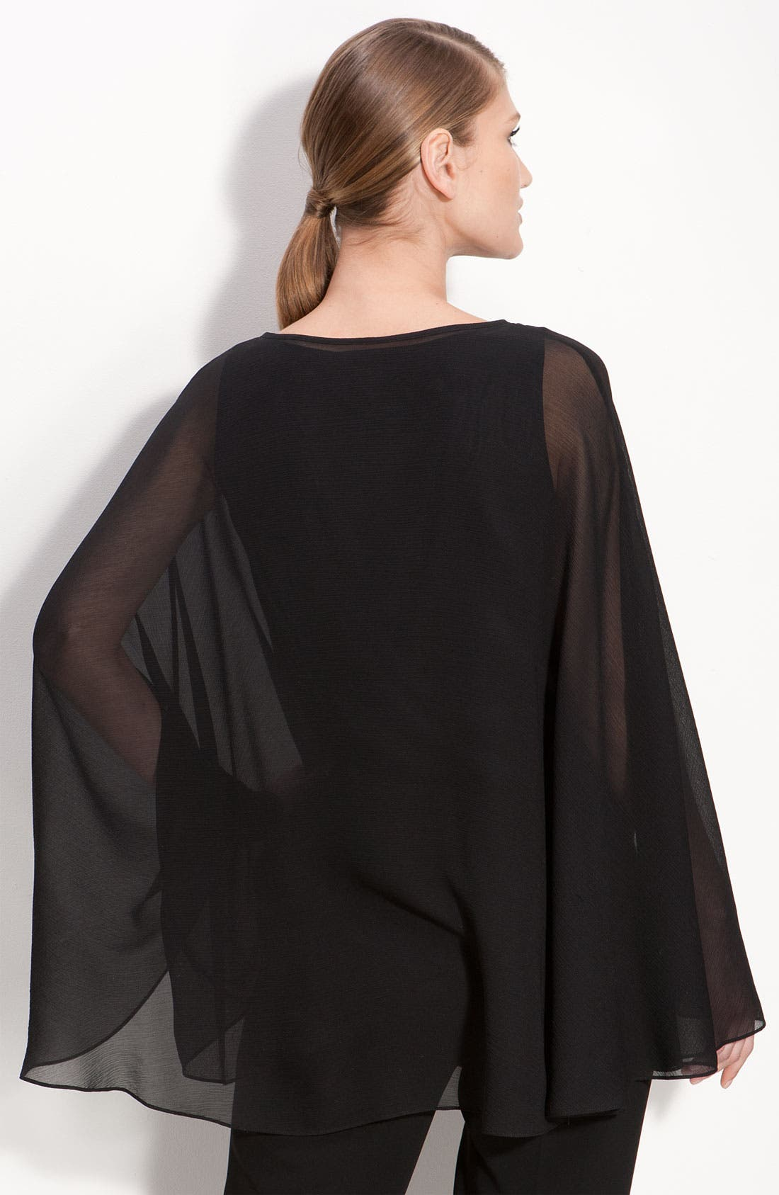 Alternate Image 2  - St. John Collection Stretch Silk Georgette Poncho Top