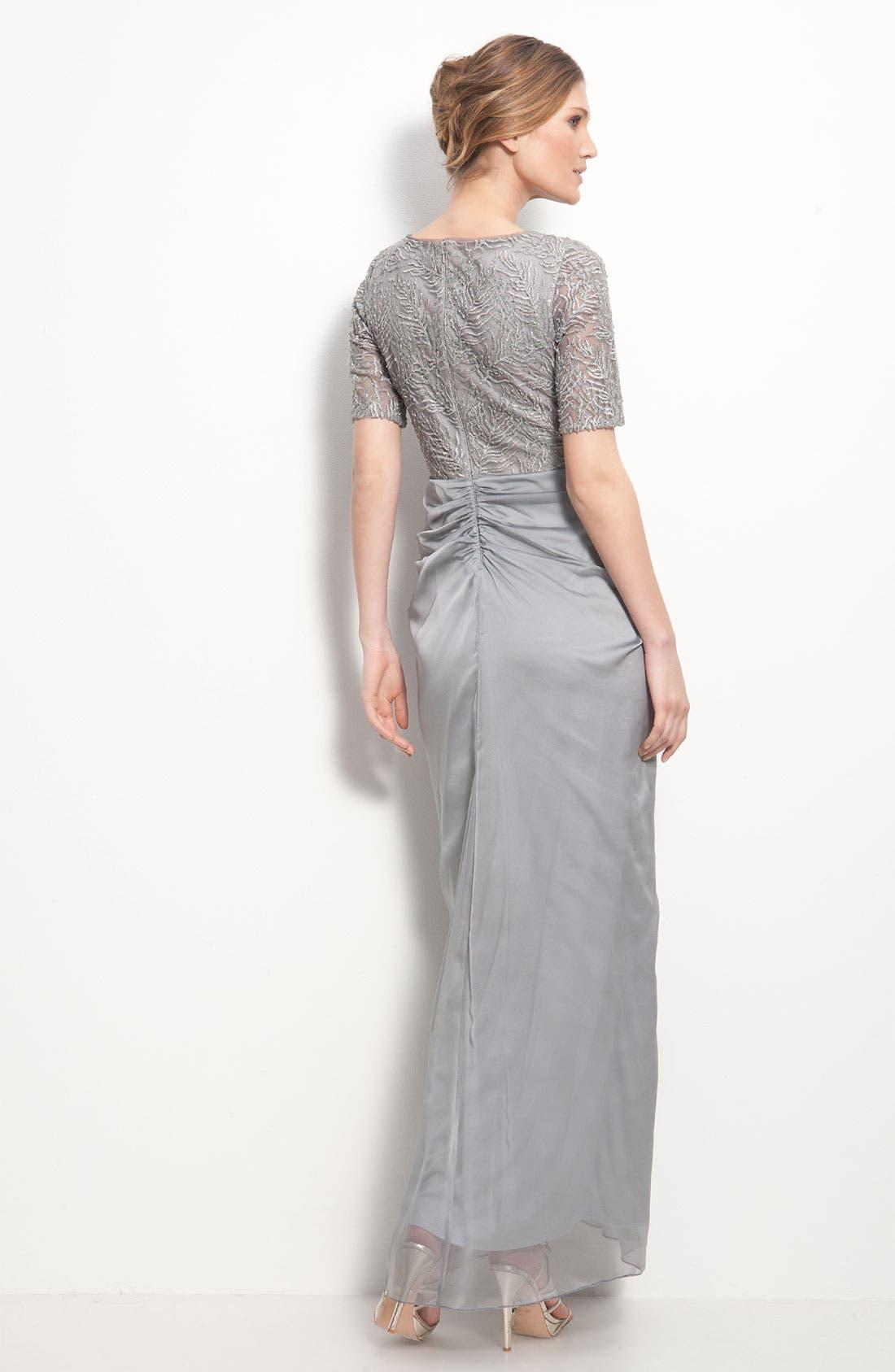 Alternate Image 2  - Tadashi Shoji Mesh & Chiffon Drape Dress