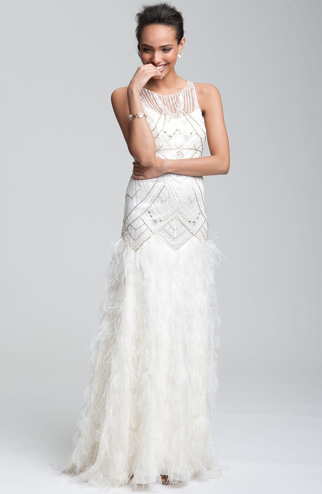 Alternate Image 3  - Sue Wong 'Feather' Beaded Gown