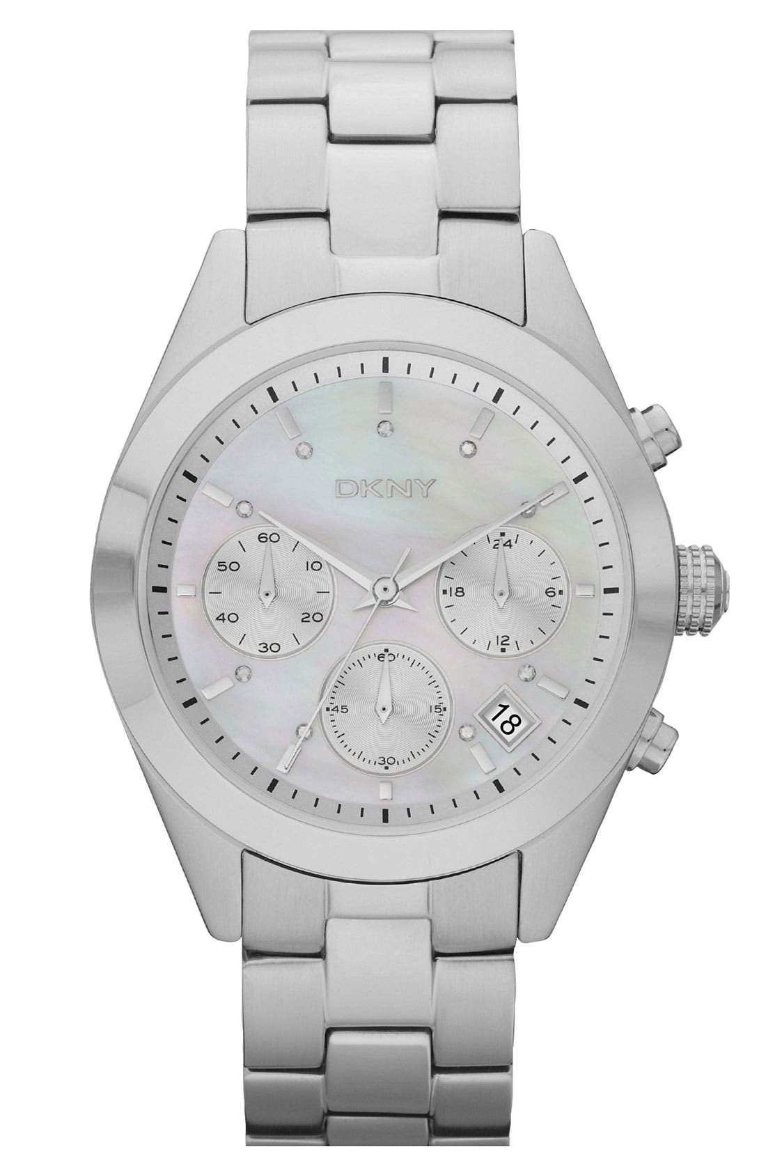 Alternate Image 1 Selected - DKNY 'Street Smart Medium' Round Bracelet Watch