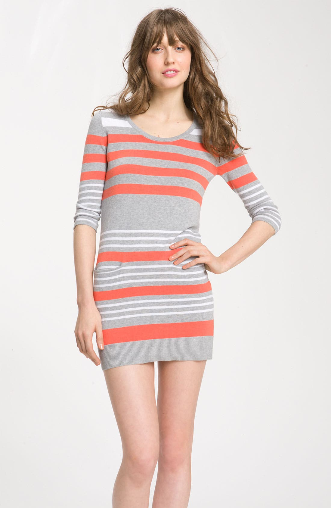 Alternate Image 1 Selected - C & C California Striped Cotton & Cashmere Sweater Dress