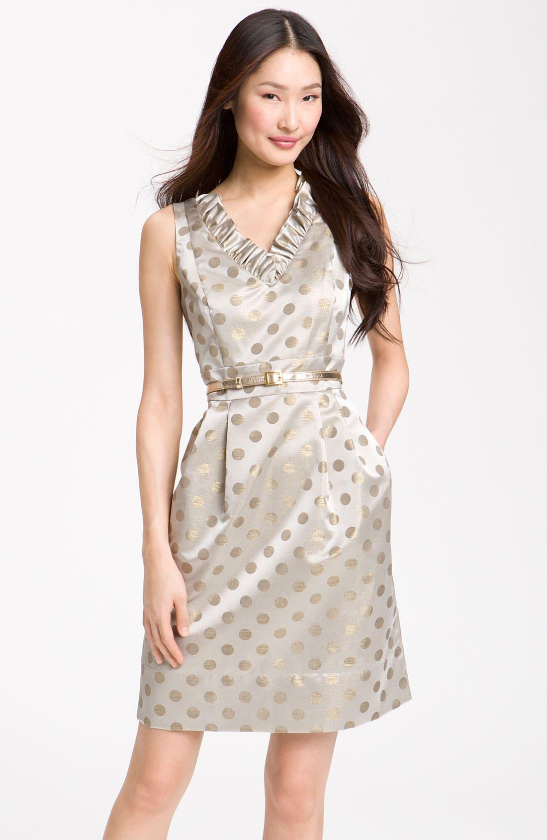 Main Image - Eliza J Belted Ruffle Satin Sheath Dress