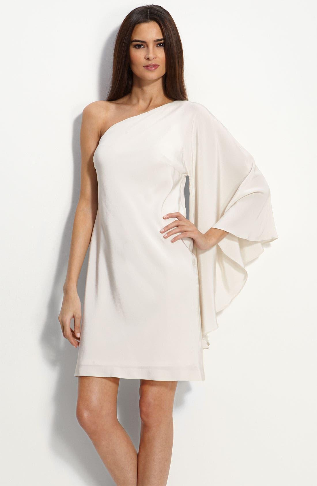 Alternate Image 1 Selected - Nicole Miller Drape Sleeve One Shoulder Dress