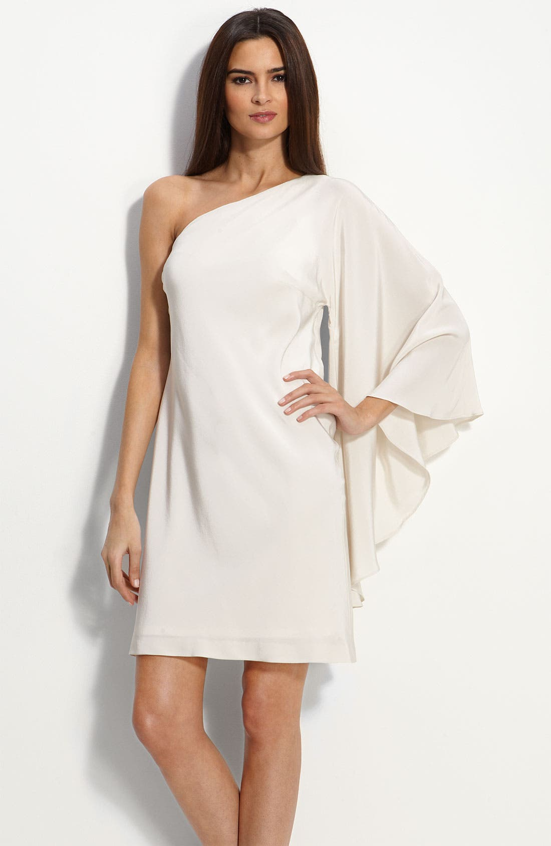 Main Image - Nicole Miller Drape Sleeve One Shoulder Dress