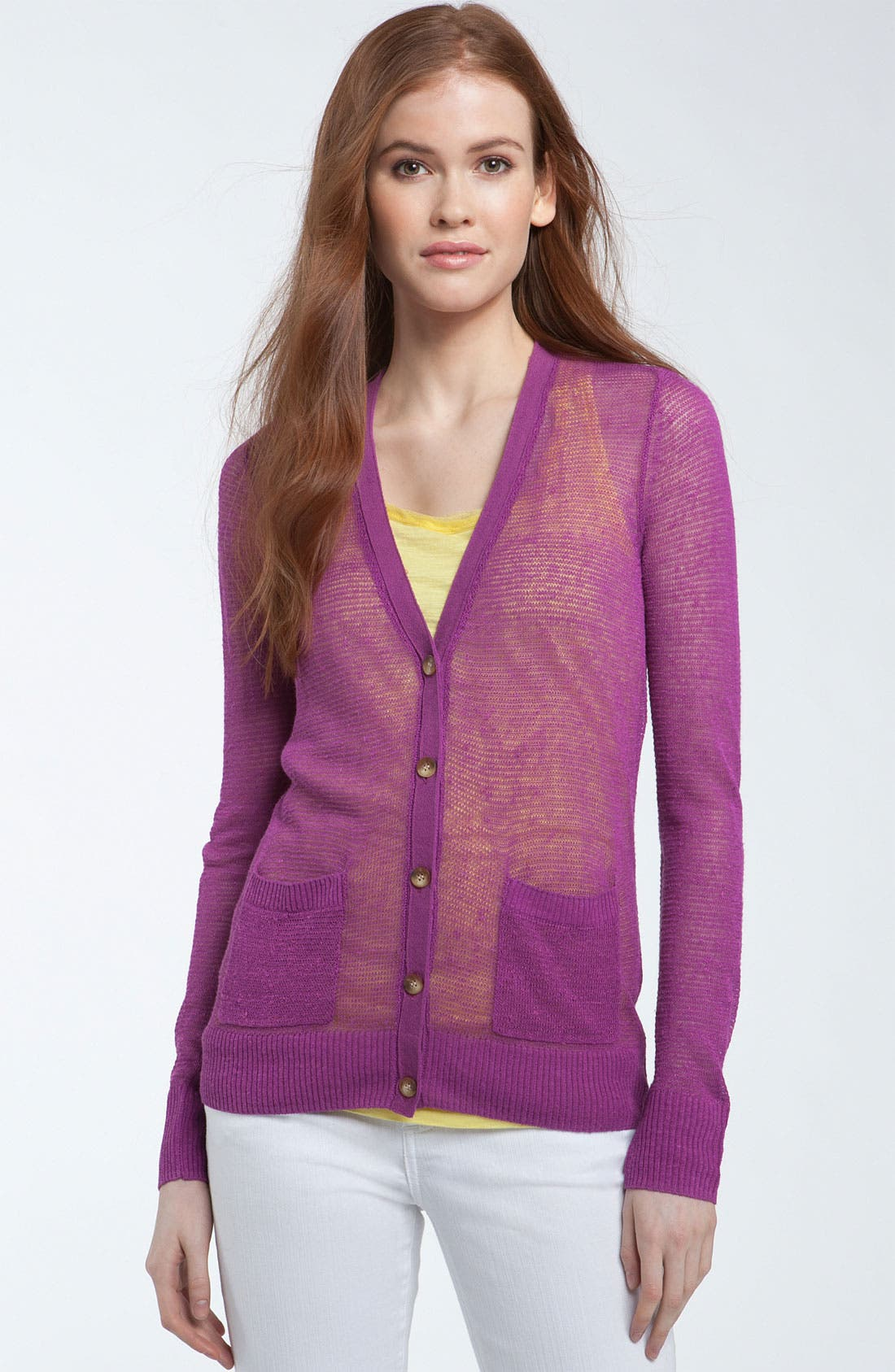 Alternate Image 1 Selected - Caslon® V-Neck Open Stitch Cardigan
