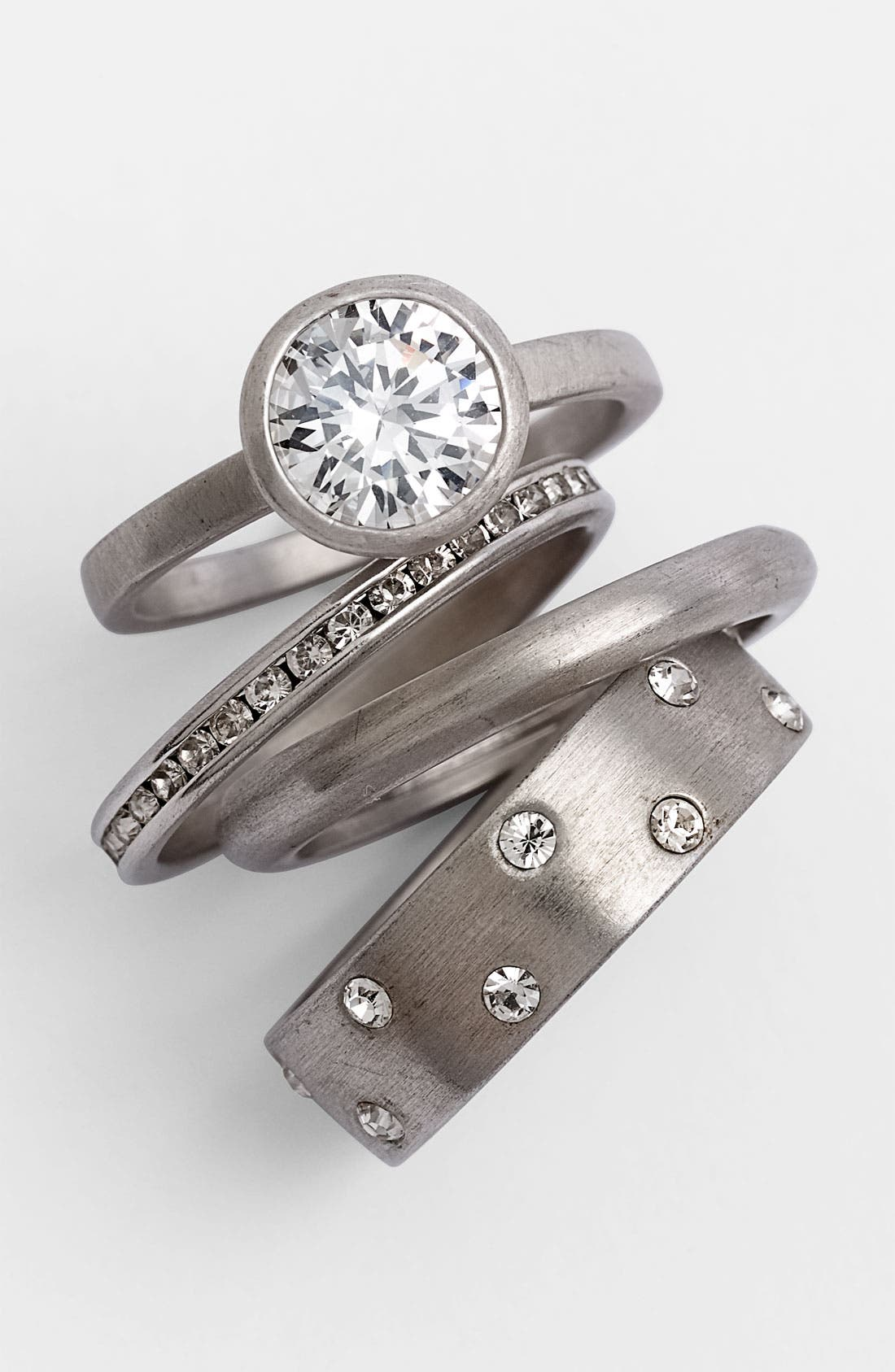 Main Image - Ariella Collection Satin Metal Stack Rings (Set of 4) (Nordstrom Exclusive)