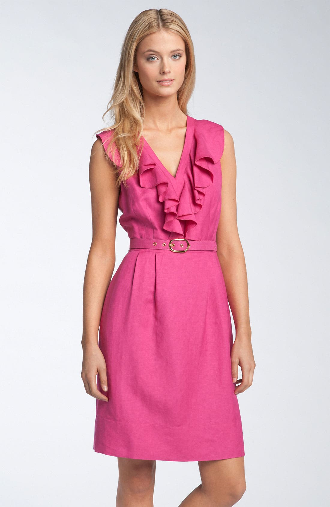 Main Image - Tahari by Arthur S. Levine Sleeveless Ruffle Front Linen Dress