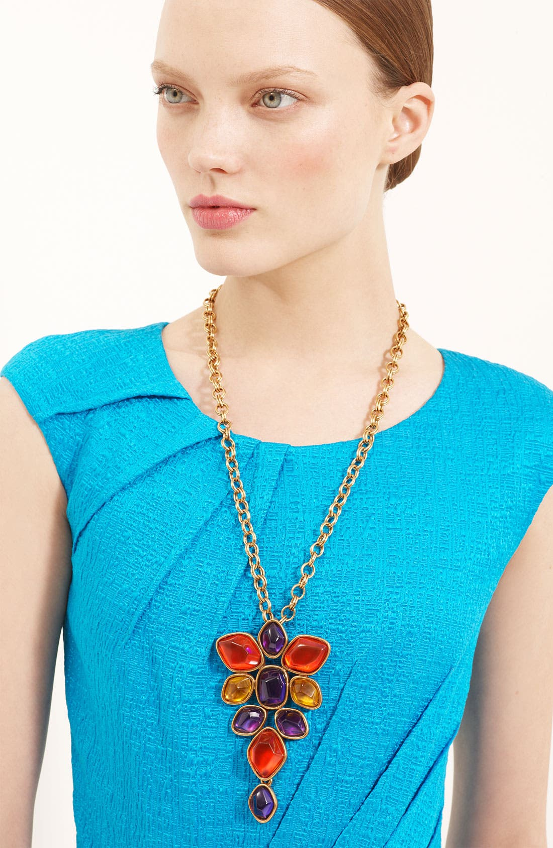 Main Image - Oscar de la Renta Large Faceted Cluster Brooch Necklace