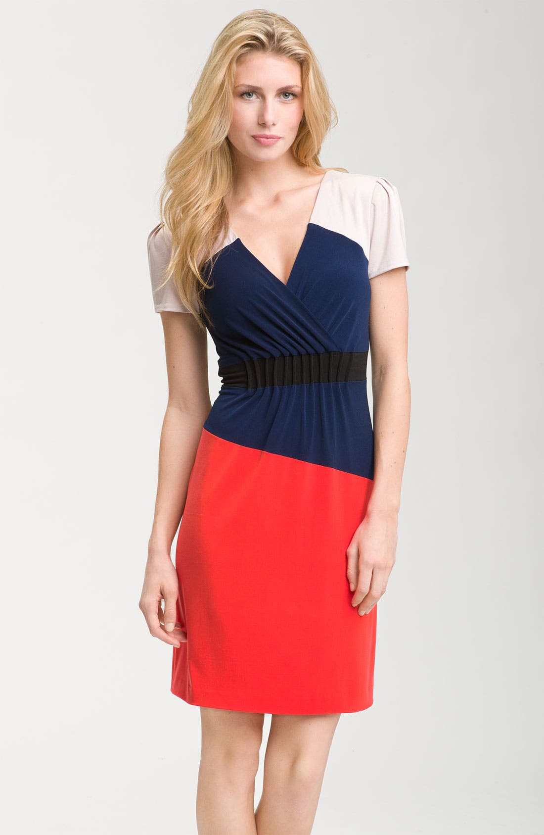 Main Image - Donna Morgan Colorblock Jersey Sheath Dress