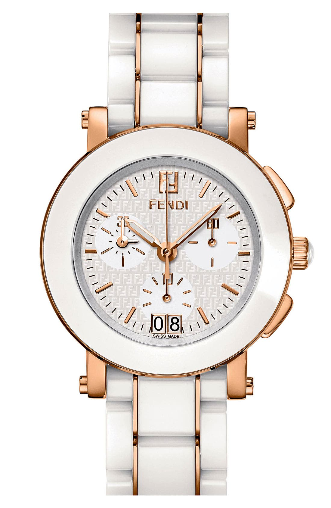 Alternate Image 1 Selected - Fendi Large Ceramic Chronograph Watch