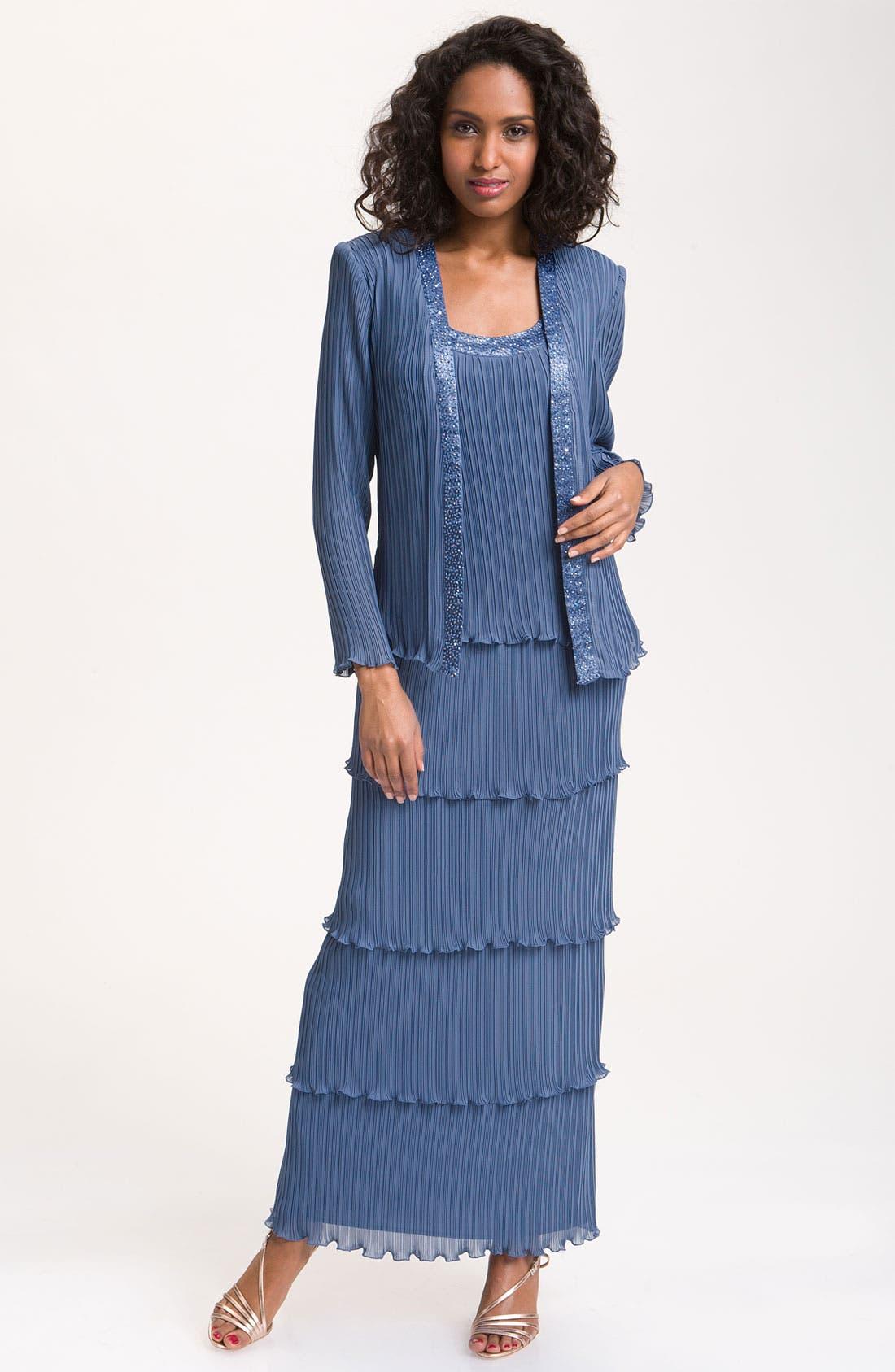 Main Image - Patra Beaded Mock Two-Piece Pleated Chiffon Dress