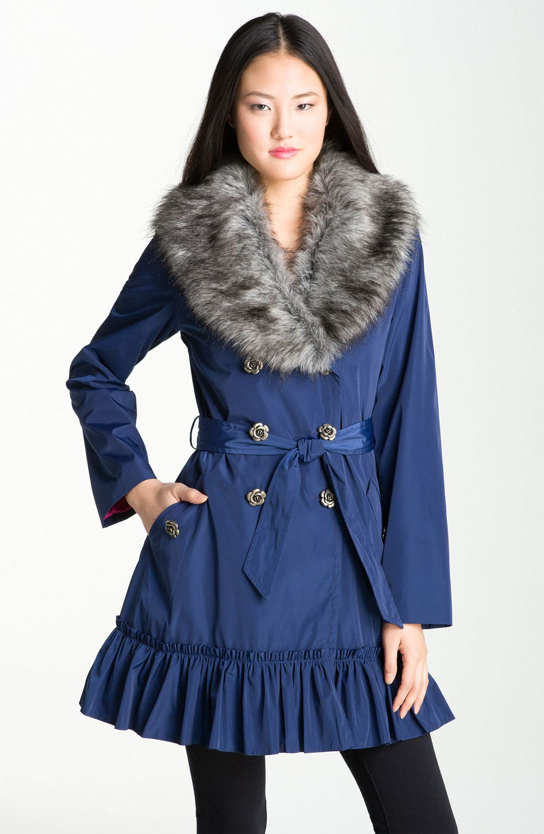 Alternate Image 1 Selected - Betsey Johnson Ruffle Hem Coat with Detachable Collar