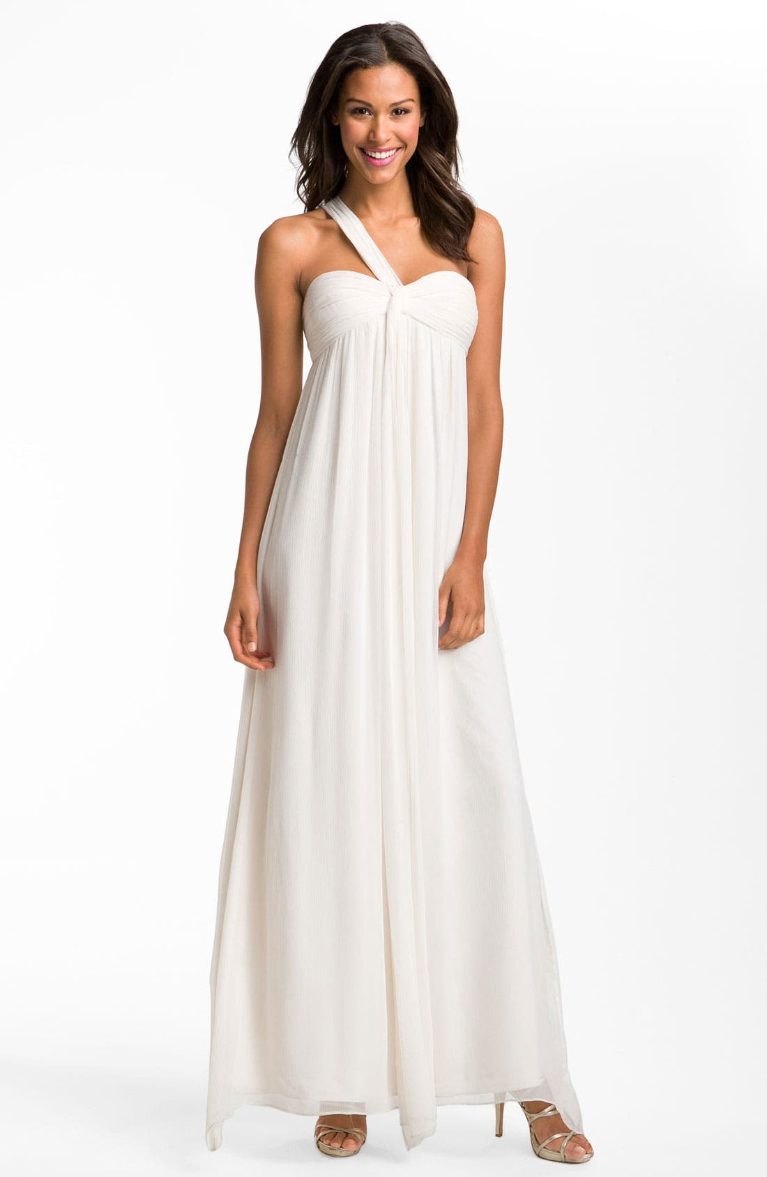 Alternate Image 1 Selected - Max & Cleo One Shoulder Chiffon Gown