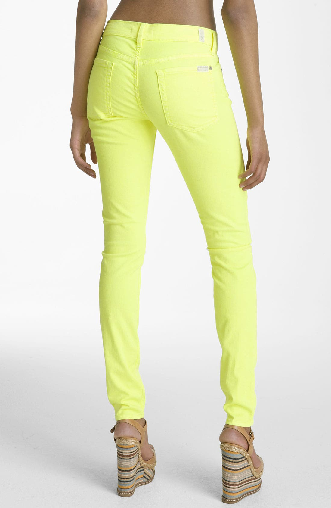 Alternate Image 2  - 7 For All Mankind® 'The Skinny' Overdyed Jeans (Neon Citron Wash)
