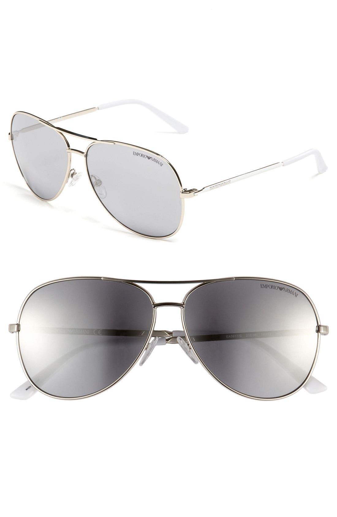 Alternate Image 1 Selected - Emporio Armani Metal Aviator Sunglasses