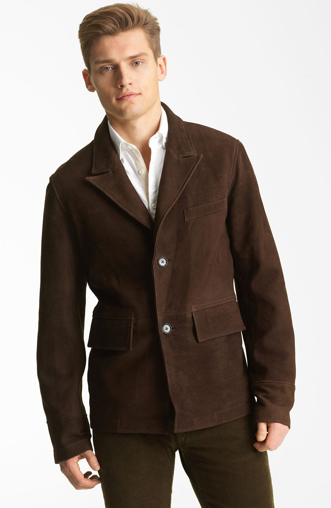 Alternate Image 1 Selected - Billy Reid 'Washed Polk' Leather Blazer