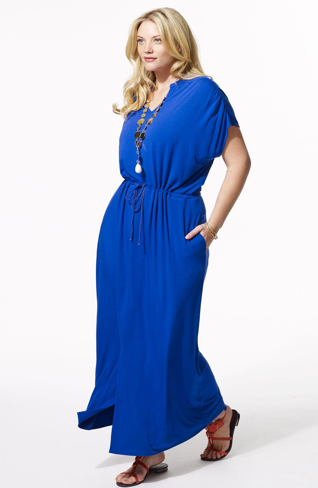 Alternate Image 4  - Sejour Split Neck Knit Maxi Dress (Plus)