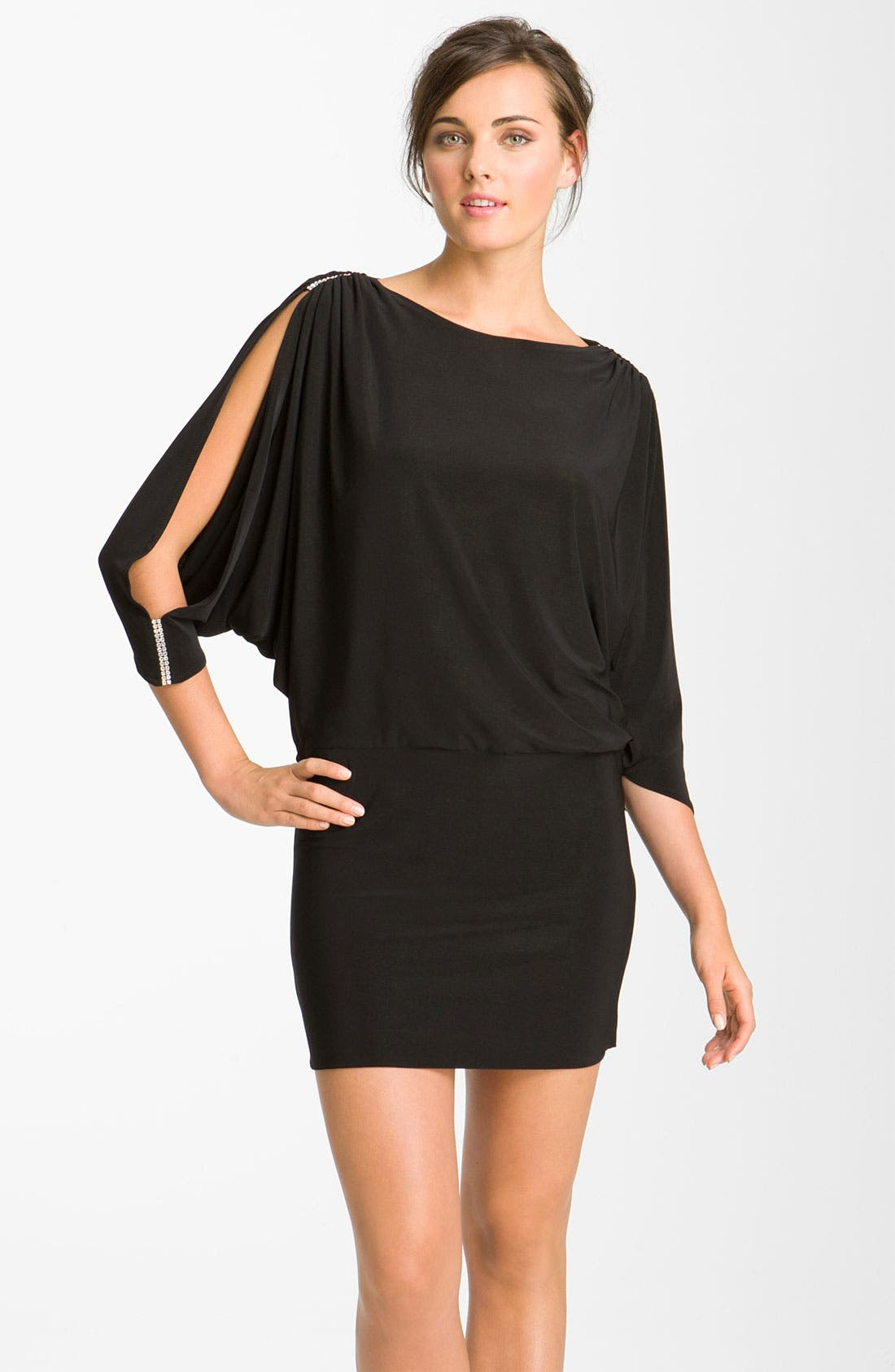 Main Image - Betsy & Adam Embellished Split Sleeve Jersey Minidress