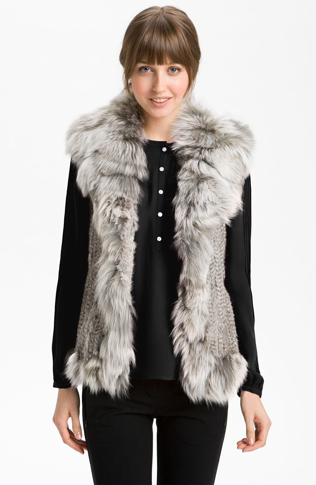 Main Image - Damselle Rabbit & Fox Fur Vest