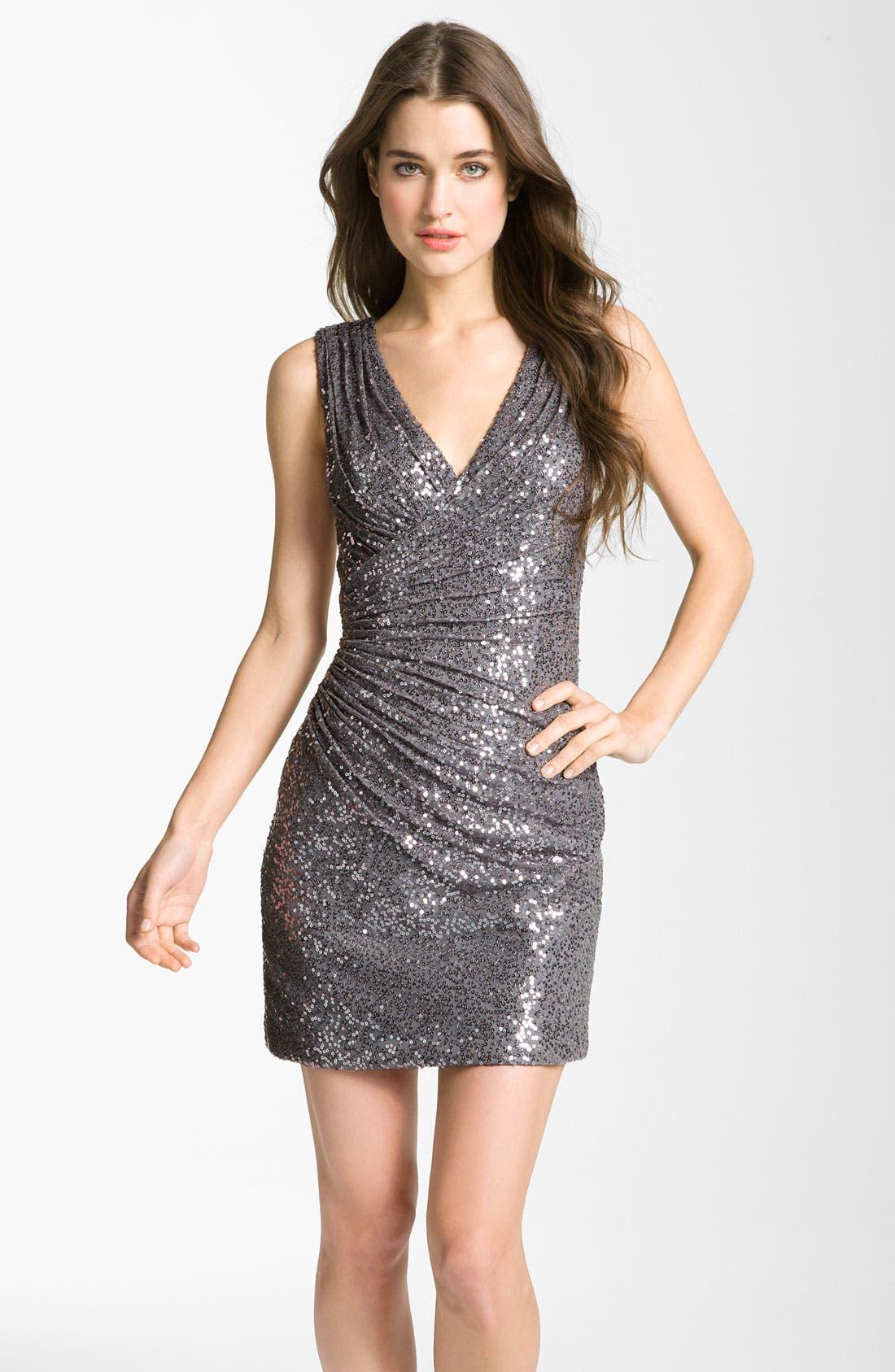 Main Image - La Femme Ruched Sequin Sheath Dress