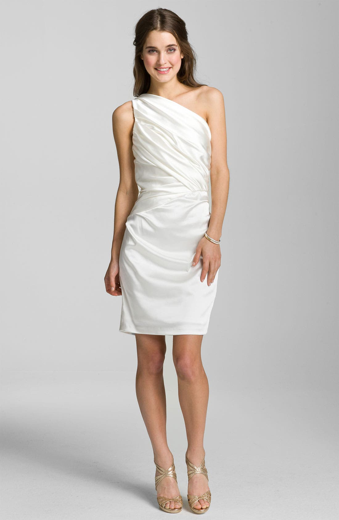 Alternate Image 1 Selected - Suzi Chin for Maggy Boutique One Shoulder Ruched Satin Sheath Dress