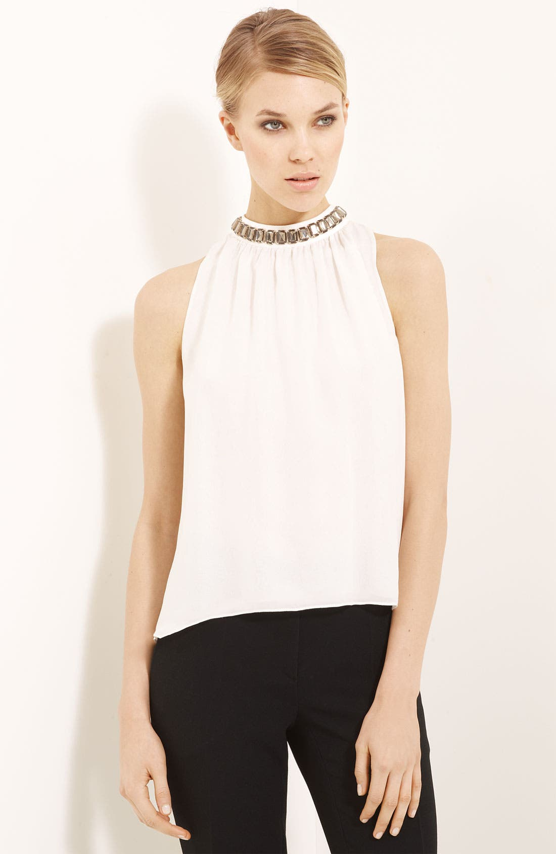 Main Image - Moschino Cheap & Chic Jewel Neck Silk Chiffon Blouse