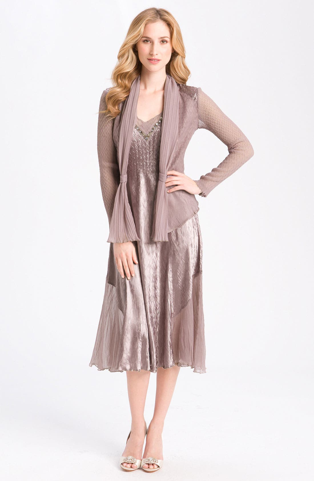Alternate Image 1 Selected - Komarov Pleated V-Neck Dress & Jacket
