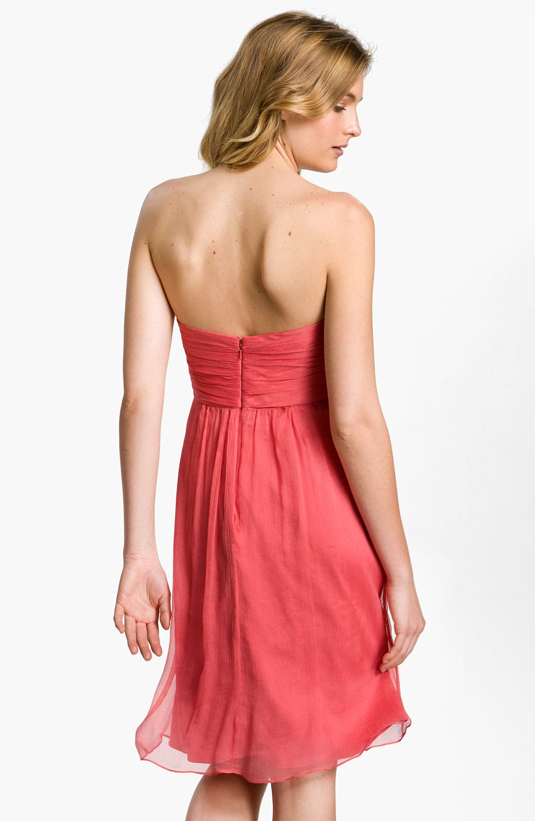 Alternate Image 2  - Amsale Strapless Rosette Detail Silk Chiffon Dress