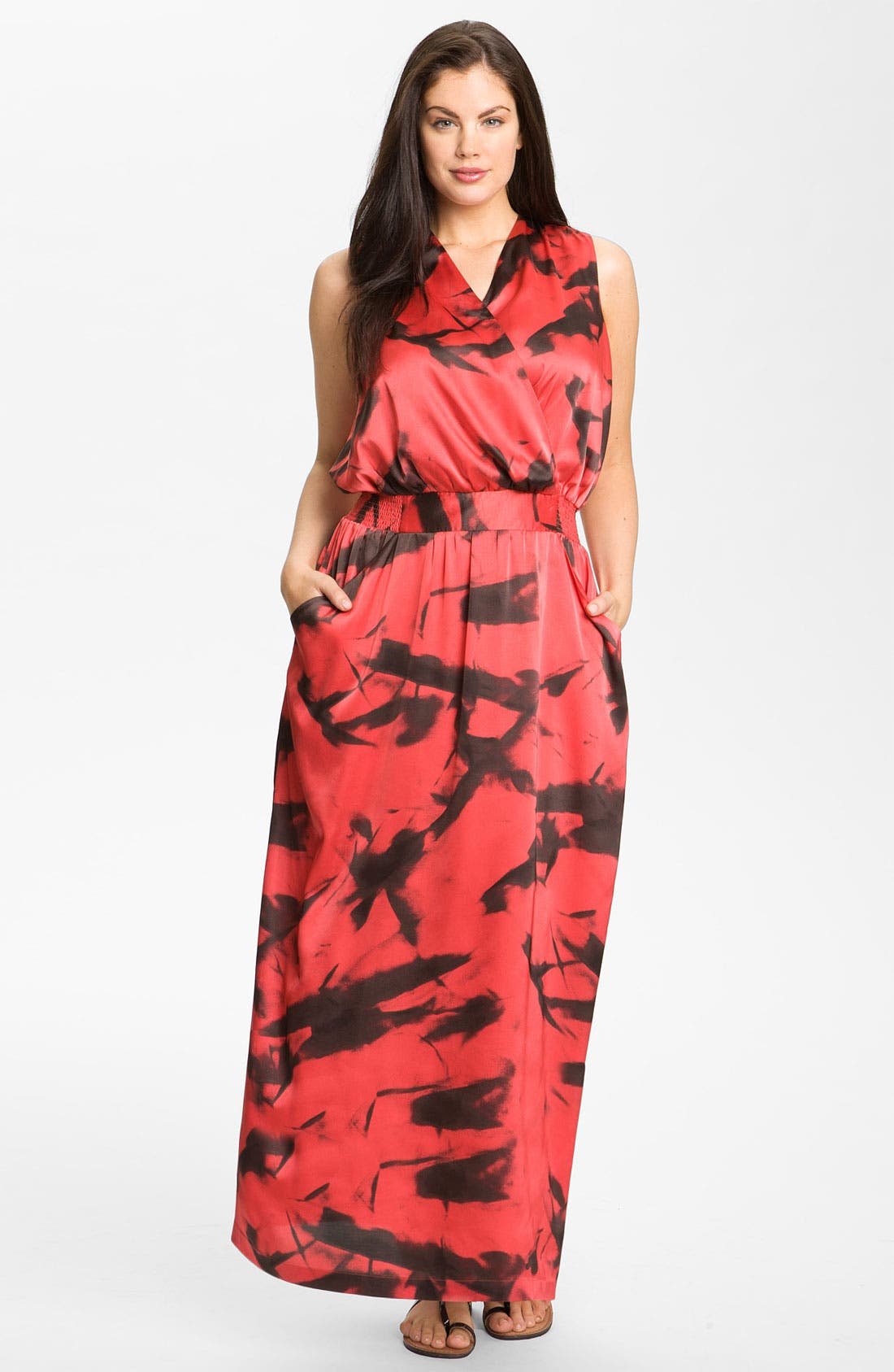 Alternate Image 1 Selected - Vince Camuto 'Paper Abstract' Sleeveless Maxi Dress (Plus)