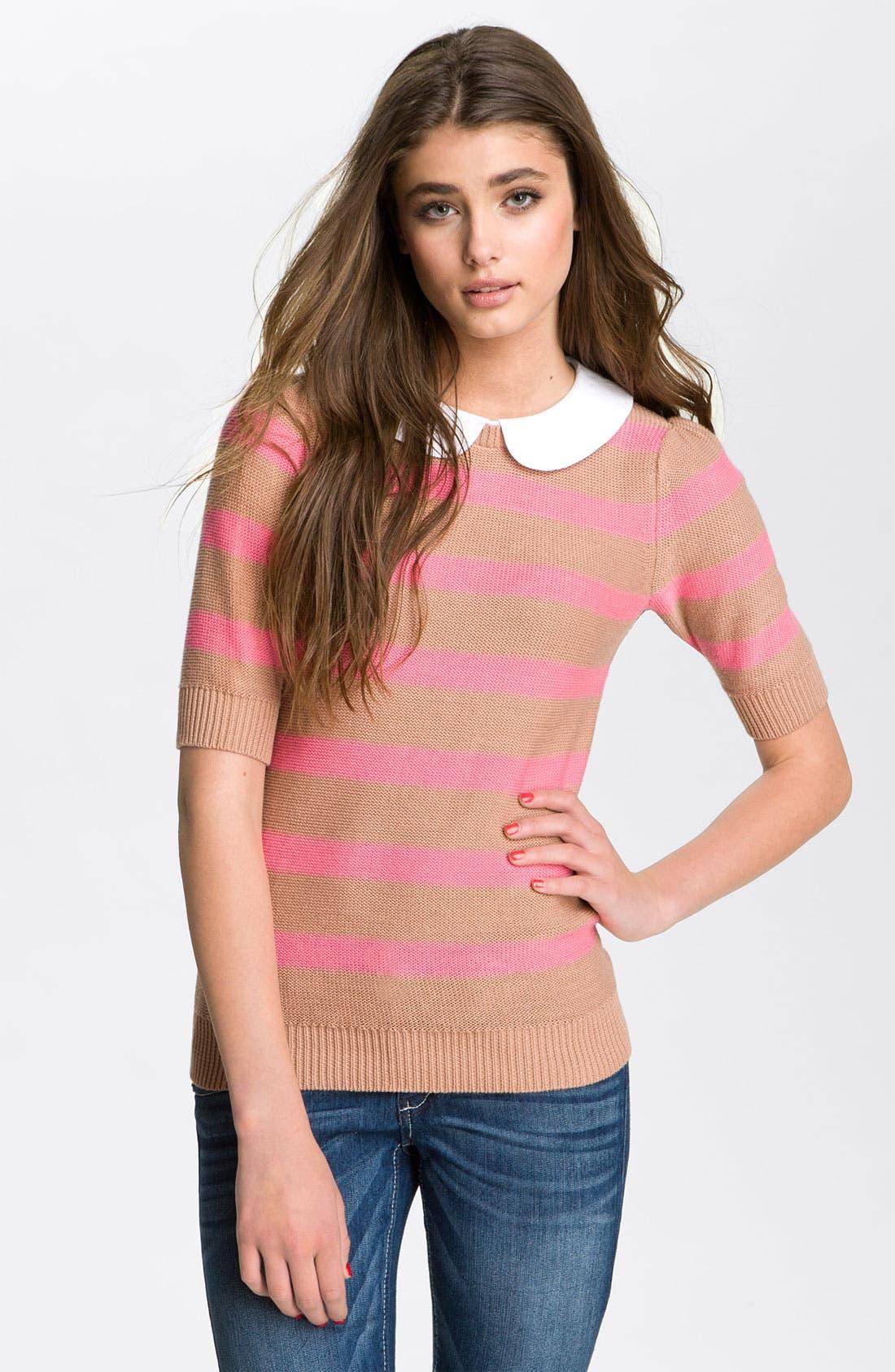Main Image - Frenchi® Peter Pan Collar Stripe Sweater (Juniors)