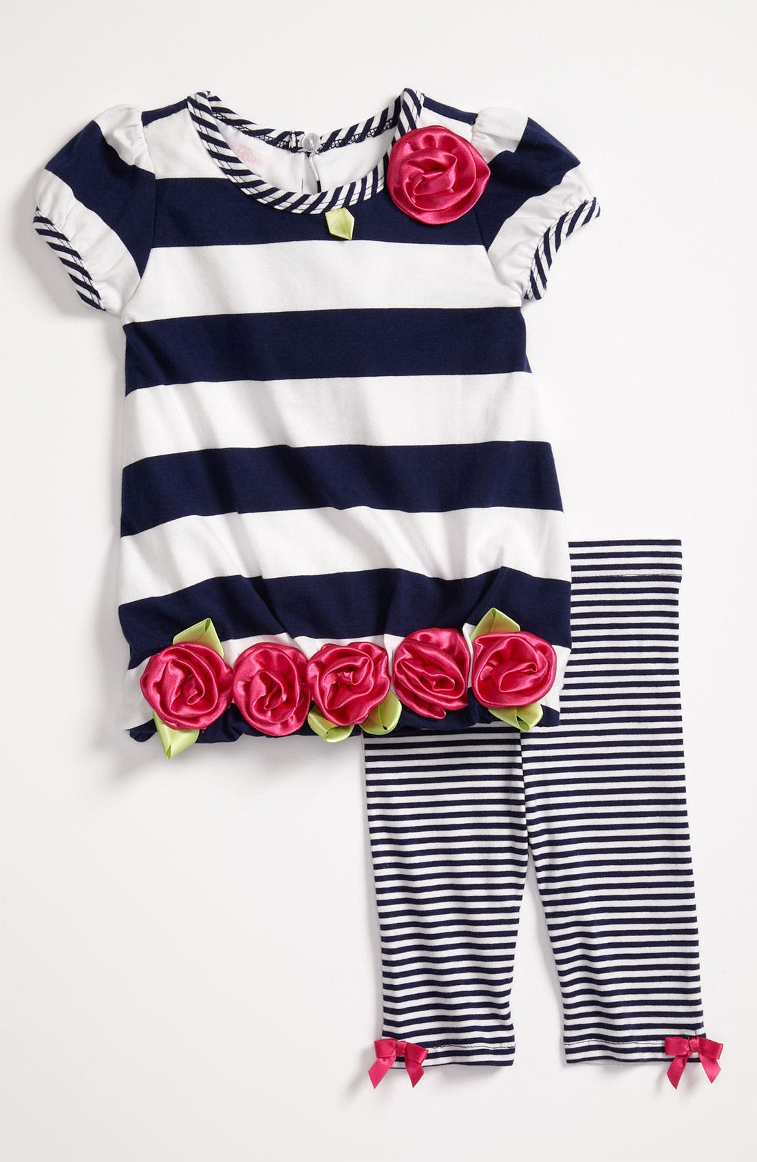 Alternate Image 1 Selected - Bonnie Baby Stripe Dress & Leggings (Infant)