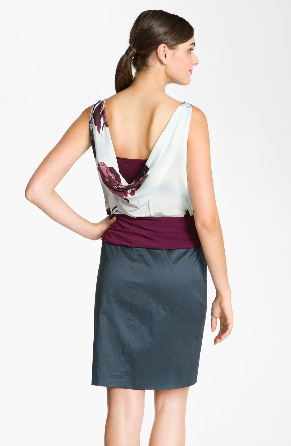 Alternate Image 2  - Suzi Chin for Maggy Boutique Draped Mixed Media Dress
