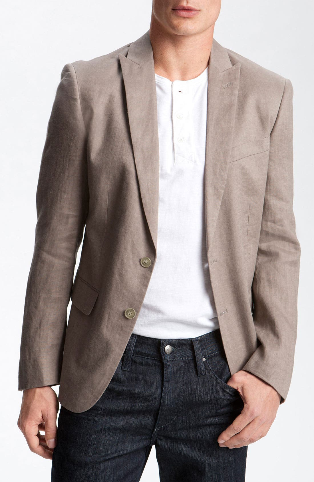 Alternate Image 1 Selected - John Varvatos Star USA Khaki Linen Blazer
