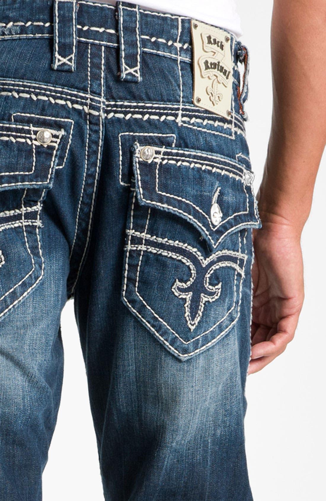 Alternate Image 4  - Rock Revival 'Gary' Straight Leg Jeans (Dark Blue)