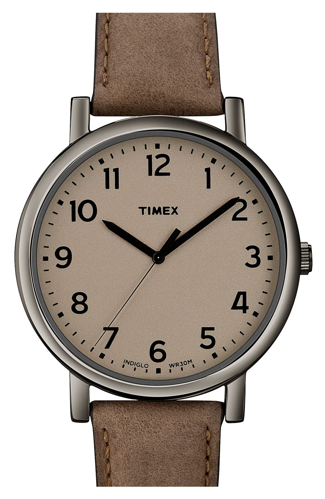 Alternate Image 1 Selected - Timex® 'Easy Reader' Leather Strap Watch