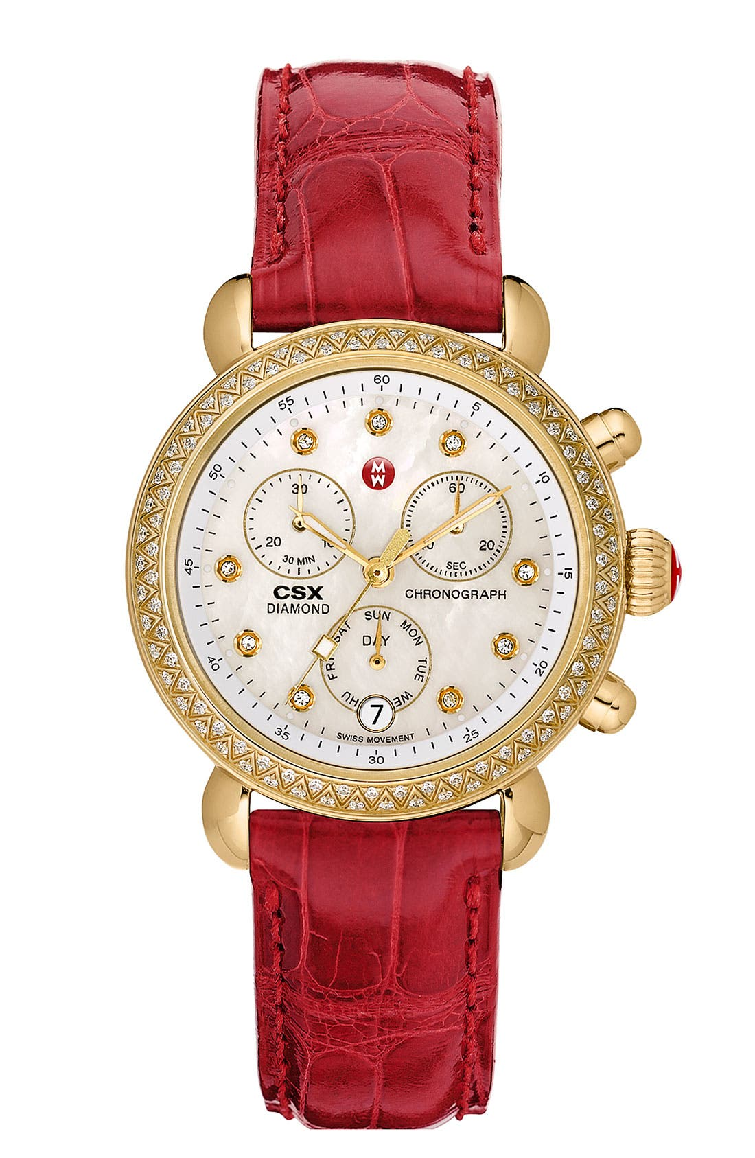 Alternate Image 3  - MICHELE 'CSX-36 Diamond' Diamond Dial Gold Plated Watch Case, 36mm