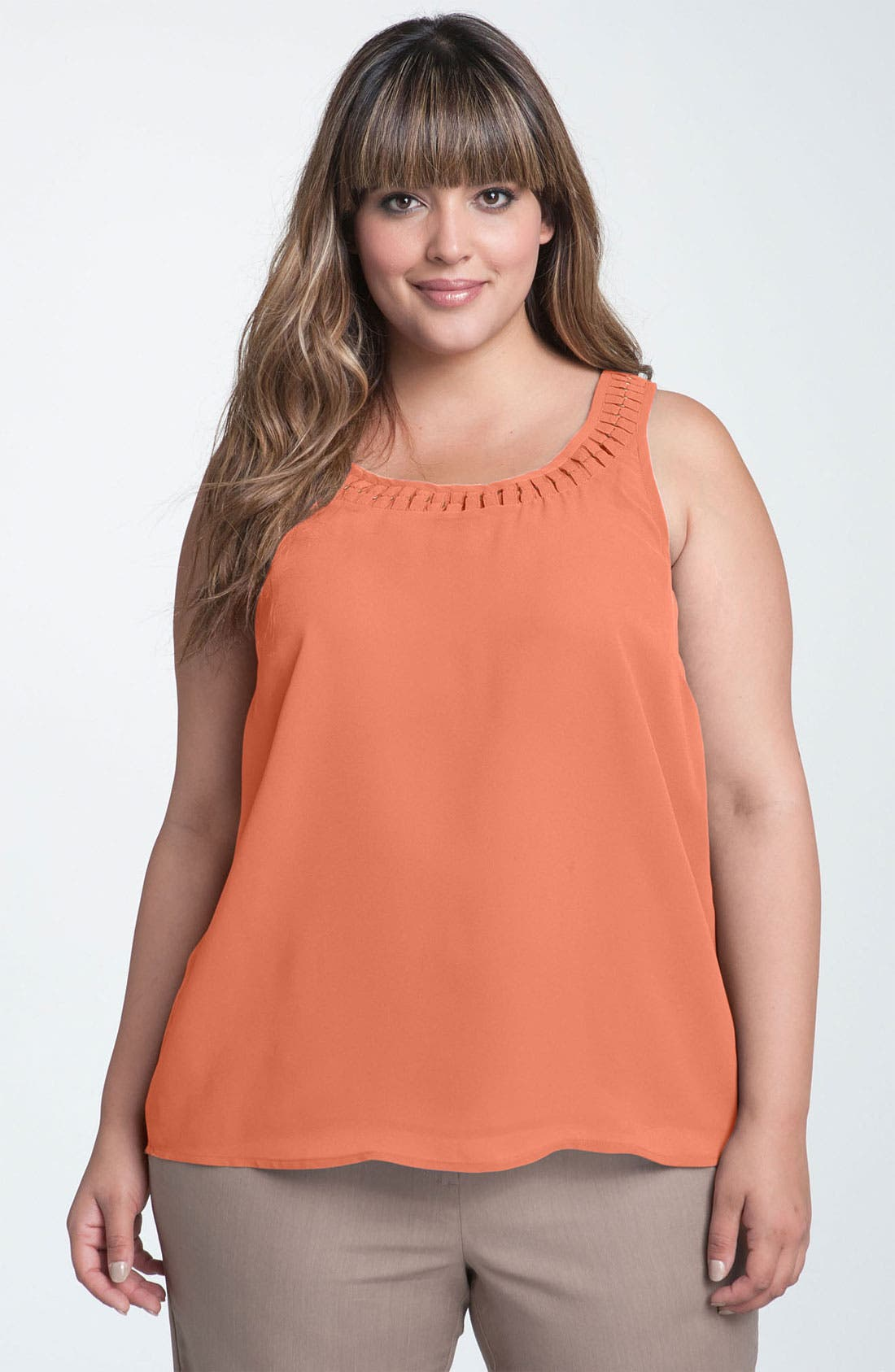 Alternate Image 1 Selected - Sejour Chiffon Overlay Tank (Plus)