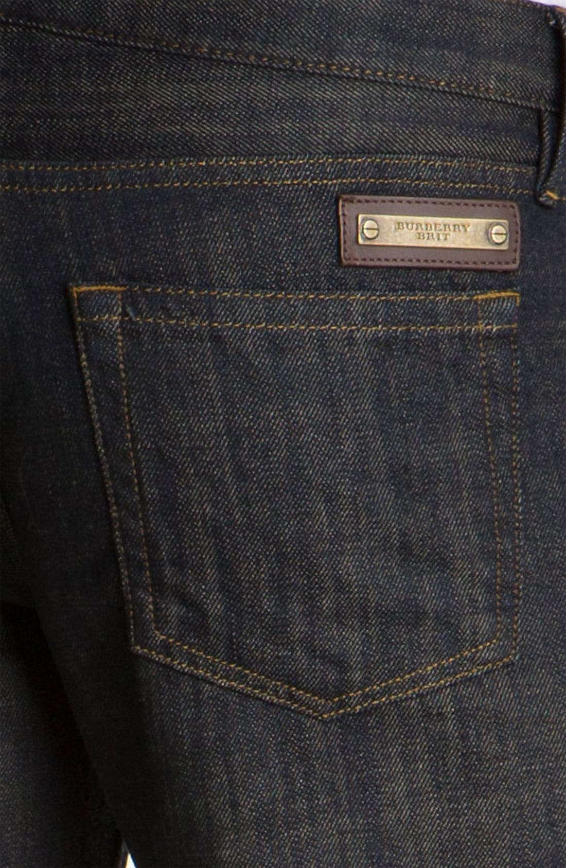 Alternate Image 4  - Burberry Brit 'Cavendish' Resin Washed Denim Jeans (Indigo Blue)