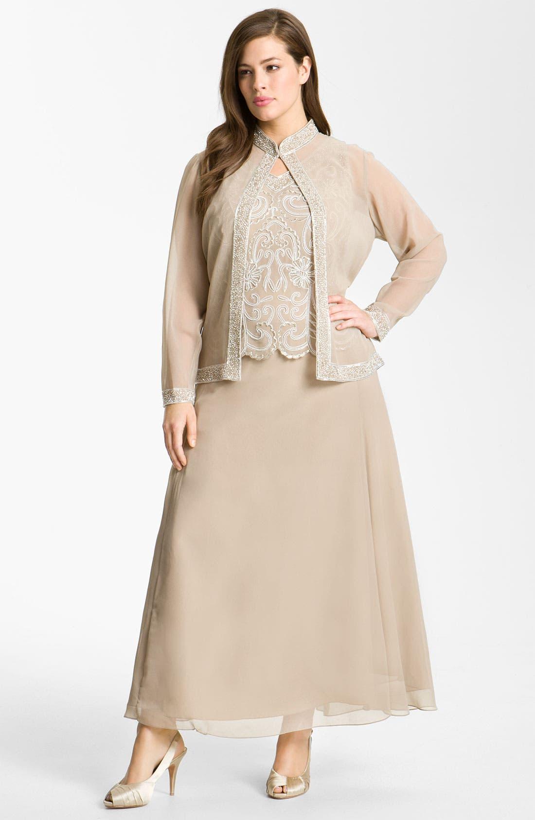 Main Image - J Kara Sheer Beaded Chiffon Gown & Jacket (Plus)