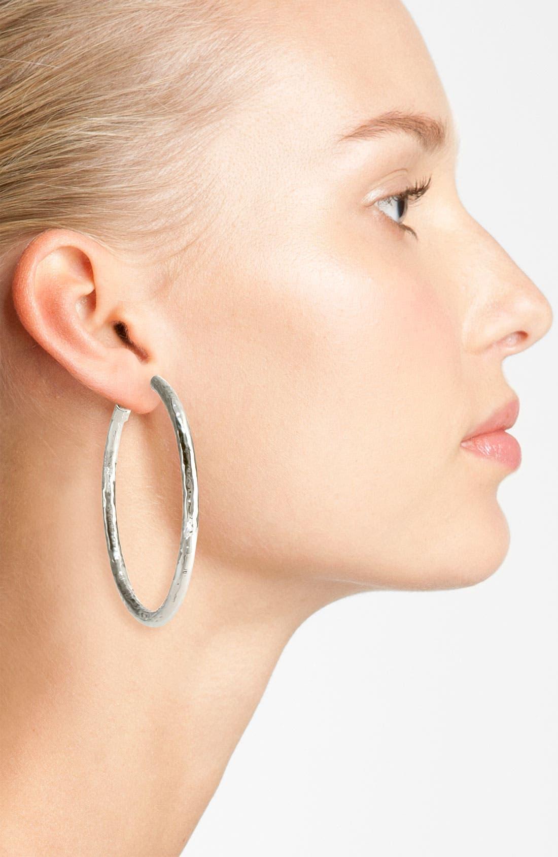 Alternate Image 2  - Ippolita 'Glamazon - Number 4' Skinny Hammered Hoop Earrings