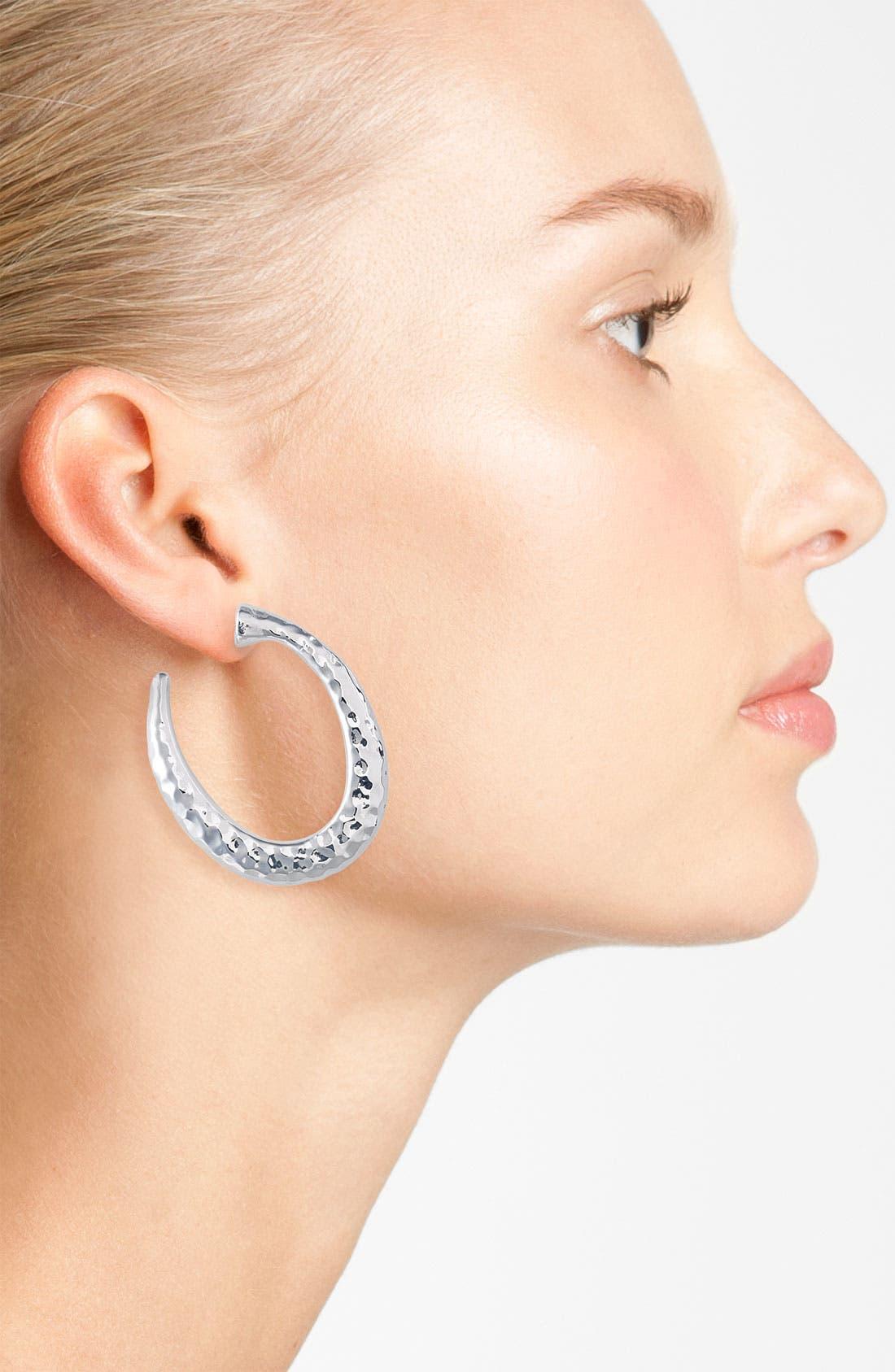 Alternate Image 2  - Simon Sebbag Hammered Oval Hoop Earrings
